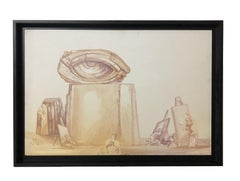 Eye 20th Century Italian Painting Oil on Tablet Signed By Fabrizio Clerici