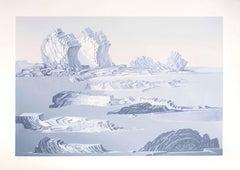 Rocky Landscape - Original Screen Print by Fabrizio Clerici - 1980 ca.