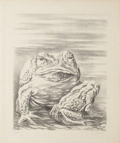 The Frogs - Original Lithograph by Fabrizio Clerici - 20th Century