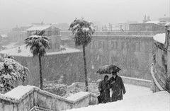 Salita scivolosa a Trinità dei Monti - Roma, 1956 - Black & White Photography