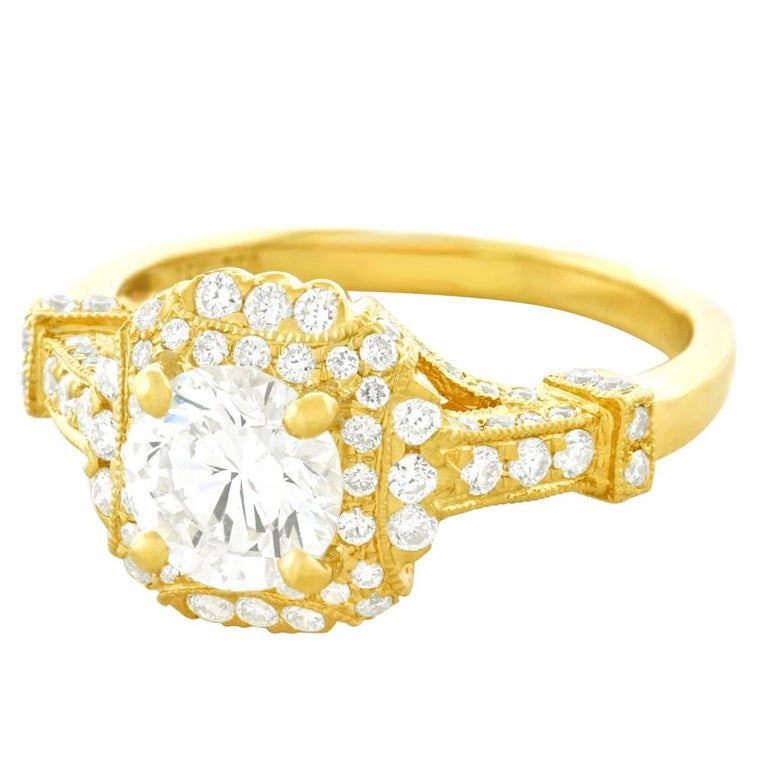 Fabulous 1.14 Carat Diamond Set Yellow Gold Ring GIA For Sale