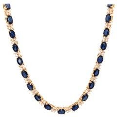 Fabulous 14 Karat Yellow Gold Diamond and Sapphire Necklace