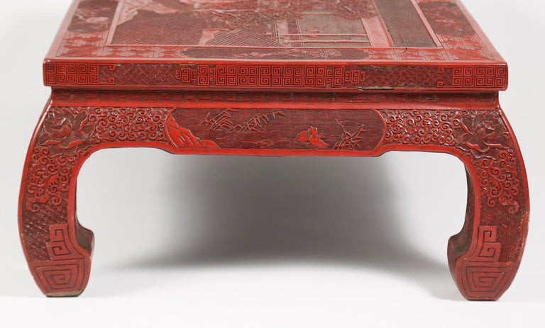 Hand-Carved Fabulous 19th Century Chinese Carved Cinnabar Low Table For Sale