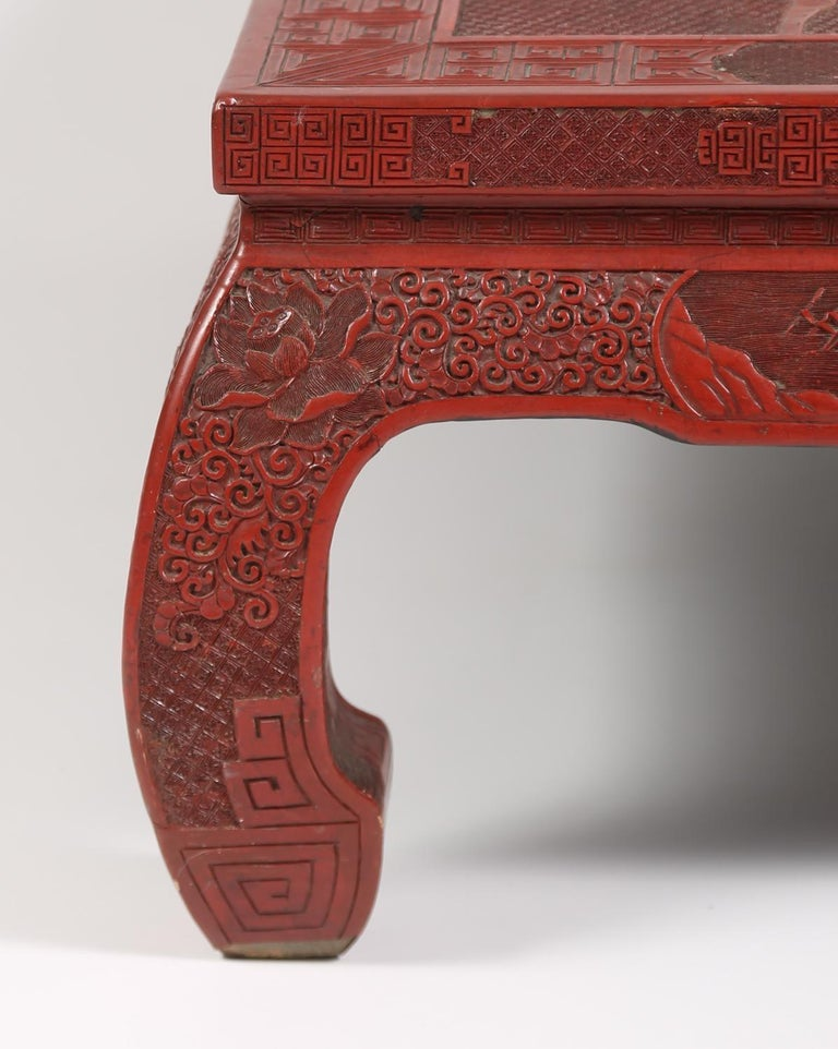 Fabulous 19th Century Chinese Carved Cinnabar Low Table In Good Condition For Sale In New York, NY