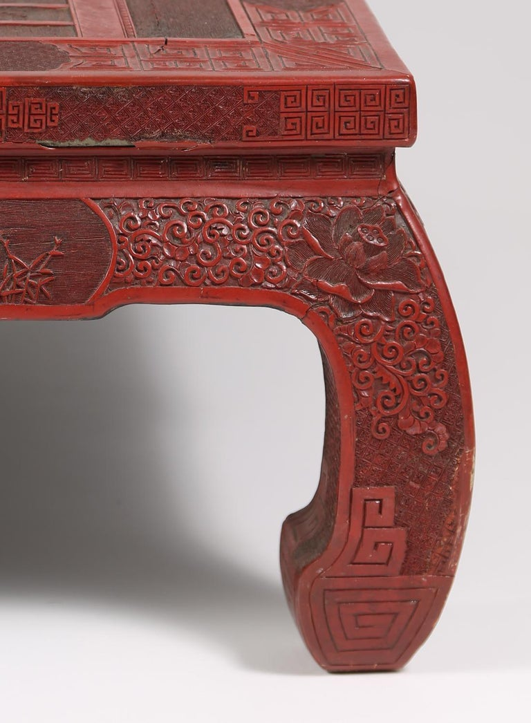 Lacquer Fabulous 19th Century Chinese Carved Cinnabar Low Table For Sale