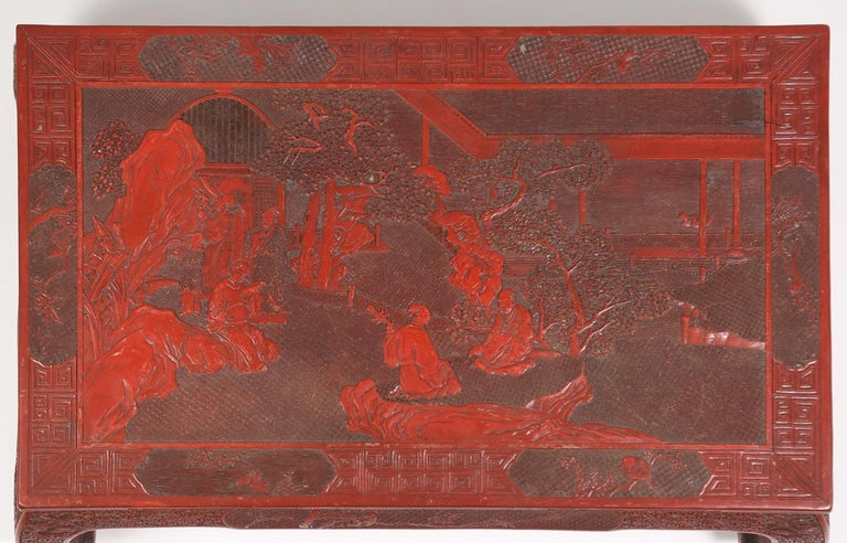 Fabulous 19th Century Chinese Carved Cinnabar Low Table For Sale 1