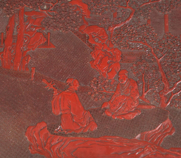 Fabulous 19th Century Chinese Carved Cinnabar Low Table For Sale 2