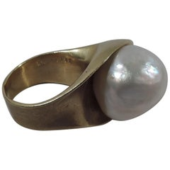 Fabulous 18 Karat Gold and South Sea Pearl Ring by Takashi Wada