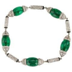 Fabulous 18K White Gold Emerald Diamond Onyx Set Bracelet