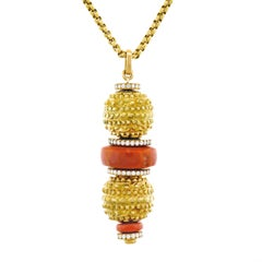 Fabulous 1960s French Coral and Diamond Set Gold Pendant
