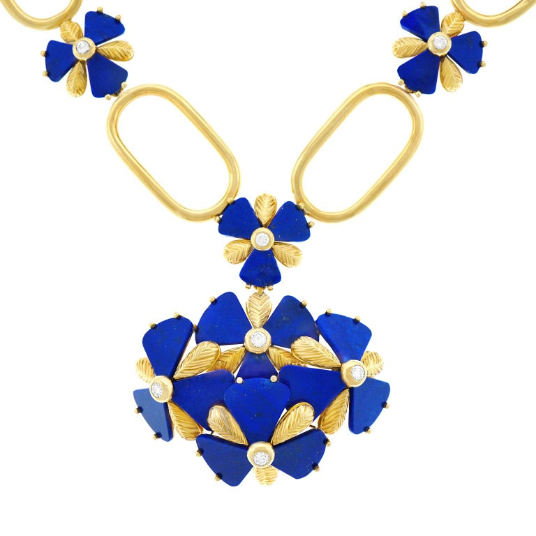 Fabulous 1960s Pop Art Lapis and Diamond Set Gold Necklace In Excellent Condition For Sale In Litchfield, CT