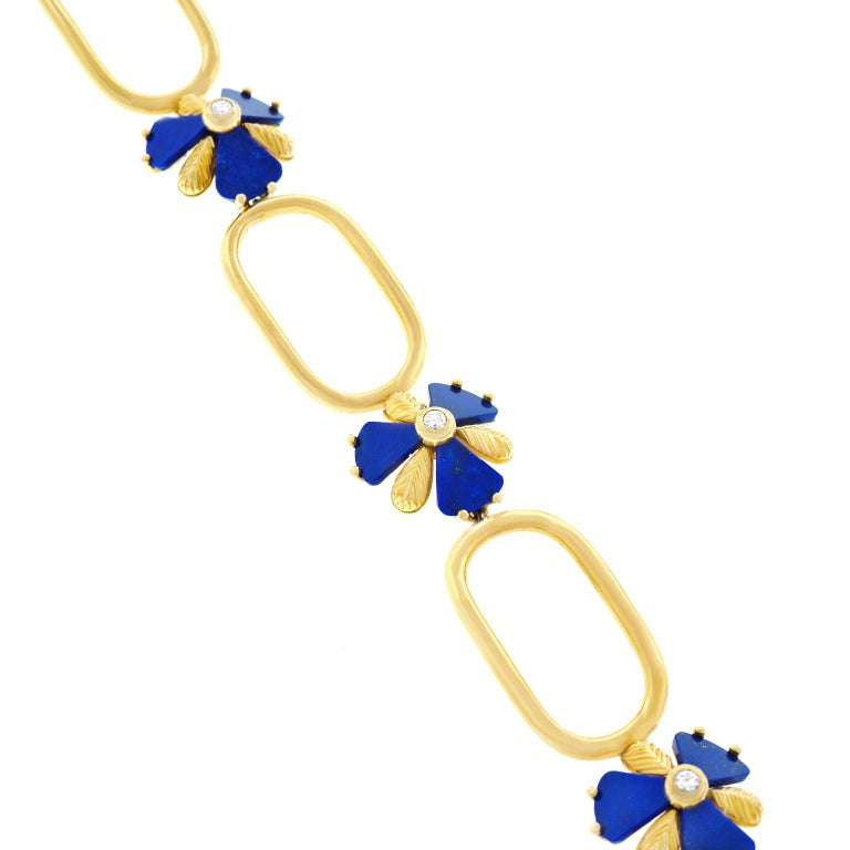 Fabulous 1960s Pop Art Lapis and Diamond Set Gold Necklace For Sale 3