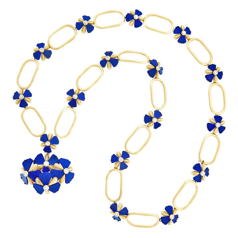 Fabulous 1960s Pop Art Lapis and Diamond Set Gold Necklace For Sale 5
