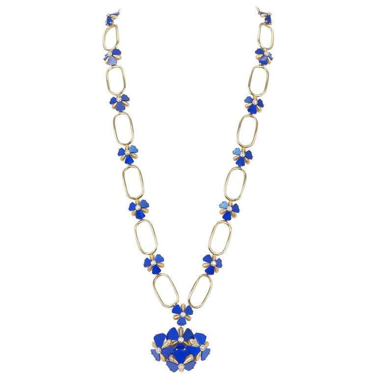 Fabulous 1960s Pop Art Lapis and Diamond Set Gold Necklace For Sale