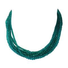 Fabulous 1964 Christian Dior Green Glass Torsade Choker