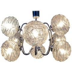 Fabulous 1970s Space Age 9 Glass Spheres and Chrome Chandelier, Germany