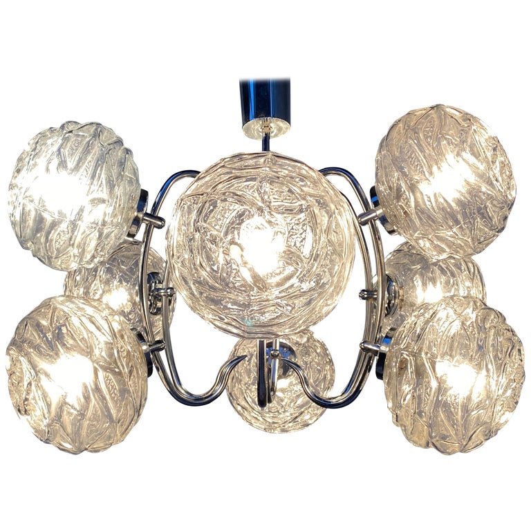 Fabulous 1970s Space Age 9 Glass Spheres and Chrome Chandelier, Germany For Sale
