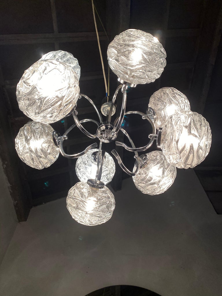 Fabulous 1970s Space Age 9 Glass Spheres and Chrome Chandelier, Germany In Good Condition For Sale In Bergen op Zoom, NL