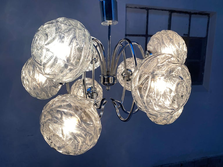 Fabulous 1970s Space Age 9 Glass Spheres and Chrome Chandelier, Germany For Sale 1