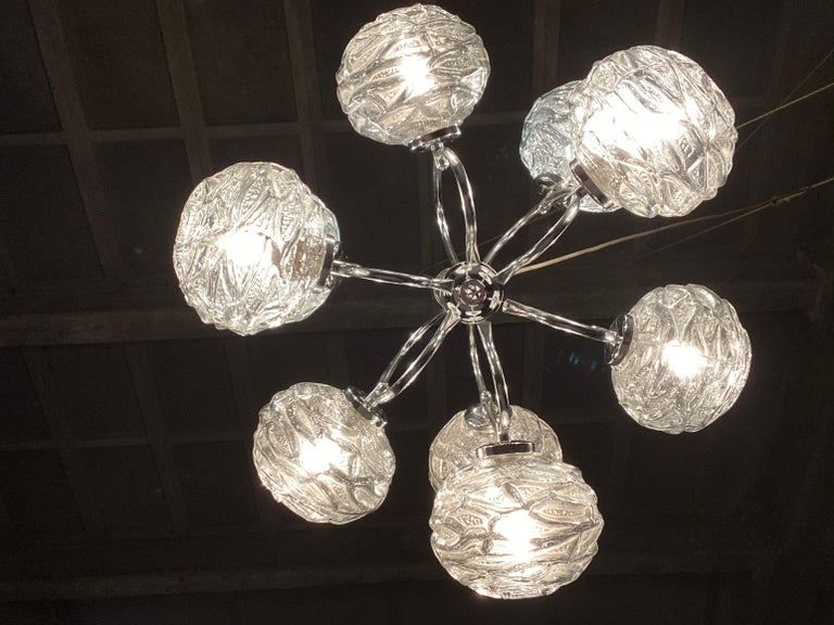 Fabulous 1970s Space Age 9 Glass Spheres and Chrome Chandelier, Germany For Sale 2