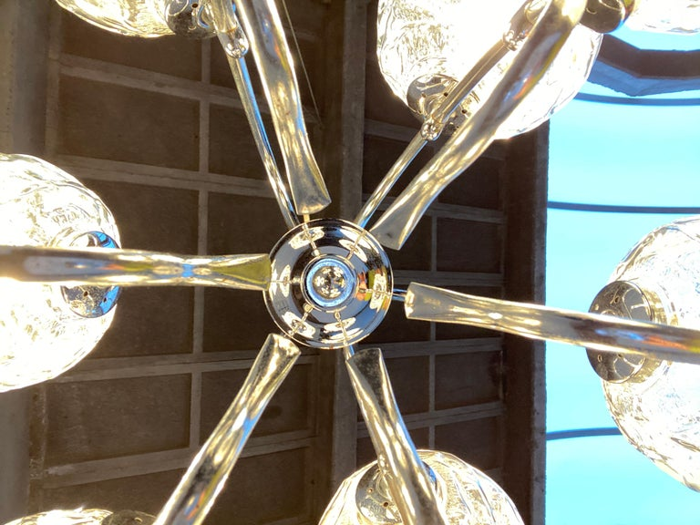 Fabulous 1970s Space Age 9 Glass Spheres and Chrome Chandelier, Germany For Sale 3
