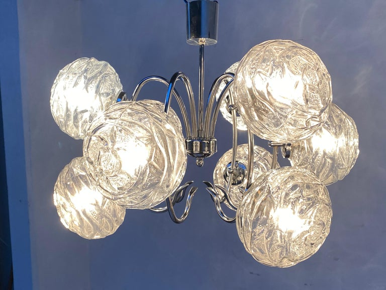 Fabulous 1970s Space Age 9 Glass Spheres and Chrome Chandelier, Germany For Sale 4