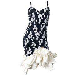 Fabulous 1980s Black and White Size 8 Sequin Bodycon Vintage 80s Dress