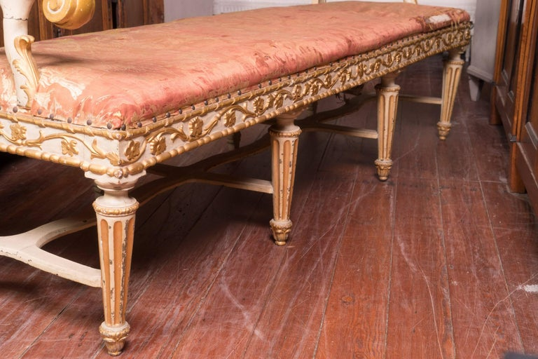 Fabulous 19th Century Italian Carved and Painted Venetian Bench In Good Condition For Sale In New Orleans, LA