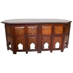 Anglo Indian Graceful Carved Arch Folding Rosewood Coffee Table Bone Inlay 1950s