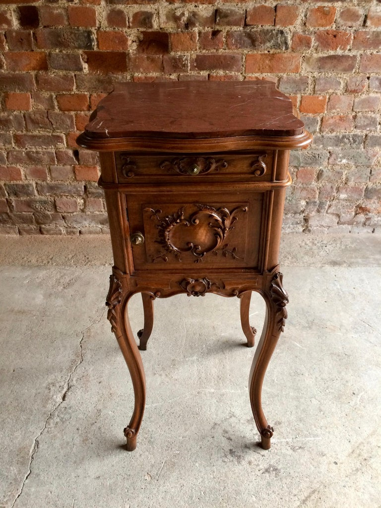 Old Bedside Table: Fabulous Antique French Bedside Table Nightstand Marble