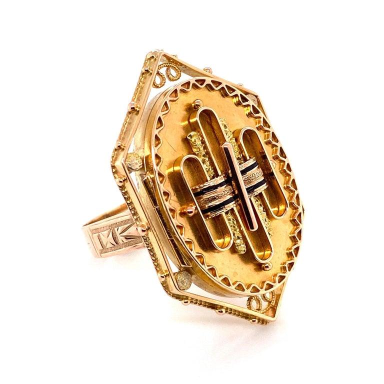 Antique Victorian Enamel Gold Locket Ring Estate Fine Jewelry For Sale 2