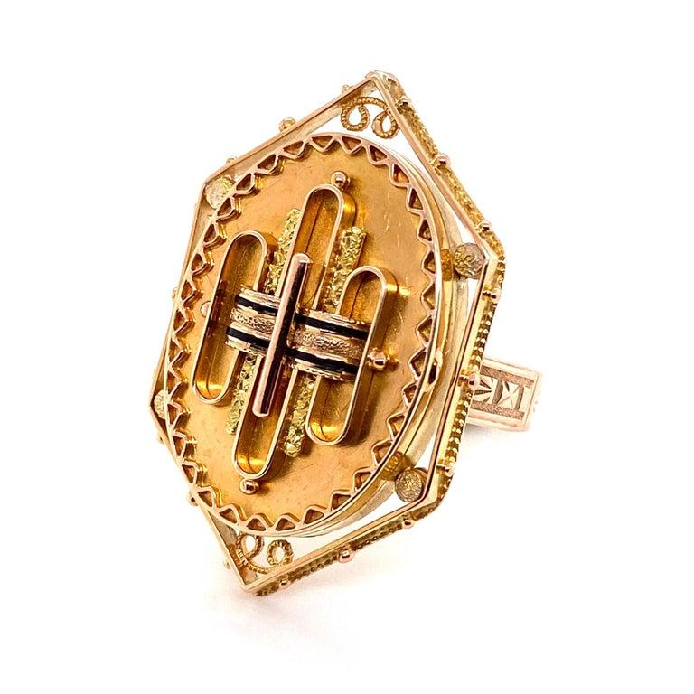 Antique Victorian Enamel Gold Locket Ring Estate Fine Jewelry For Sale 3