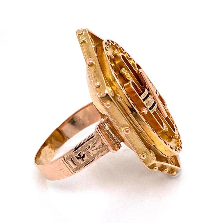 Antique Victorian Enamel Gold Locket Ring Estate Fine Jewelry For Sale 4