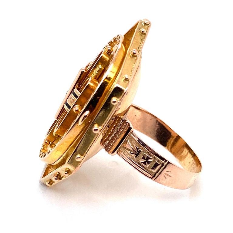Antique Victorian Enamel Gold Locket Ring Estate Fine Jewelry For Sale 5