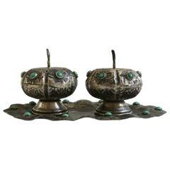 Fabulous Antonio Pineda Salt Pepper Shaker Tray Set Silver Turquoise Mexico 1950