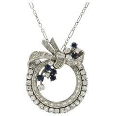 Fabulous Art Deco Diamond Pendant Necklace Drop Circle Bow Pin Platinum Sapphire