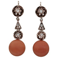 Fabulous Art Deco Natural Coral and Diamond Rare Drop Earrings