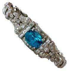 Fabulous Art Deco Platinum, Blue Zircon and Diamond Bracelet