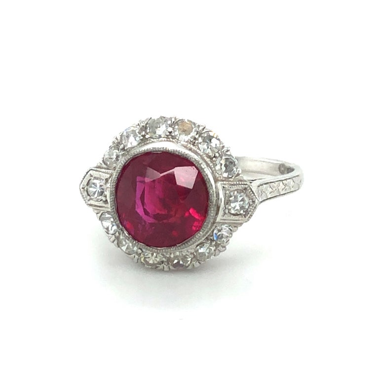 Cushion Cut Fabulous Art Deco Ring with Burmese Ruby and Diamonds in Platinum 950