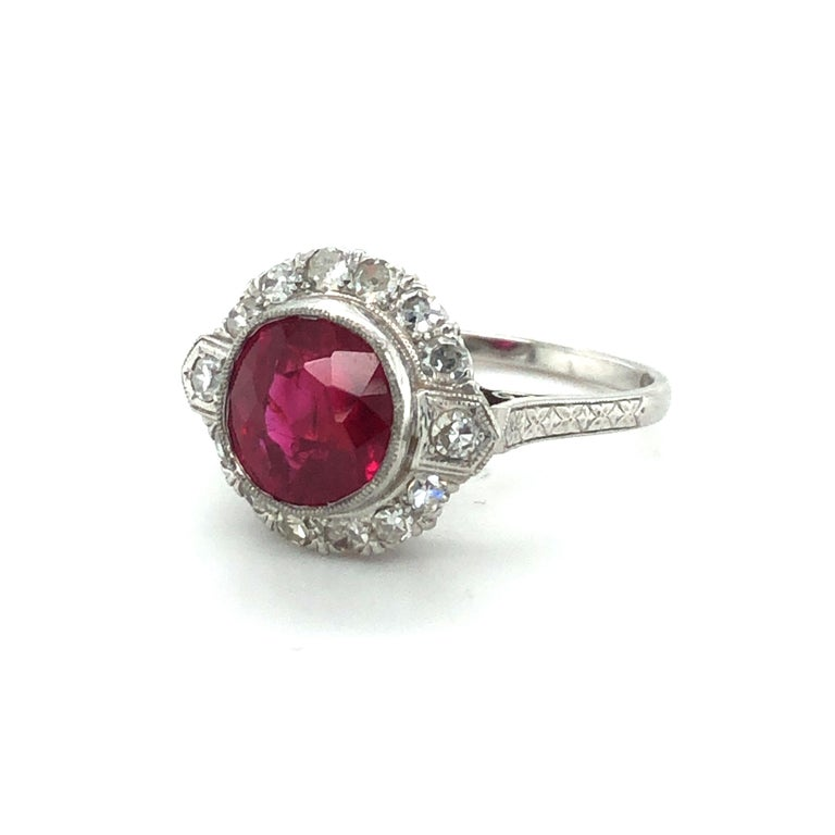 Women's or Men's Fabulous Art Deco Ring with Burmese Ruby and Diamonds in Platinum 950