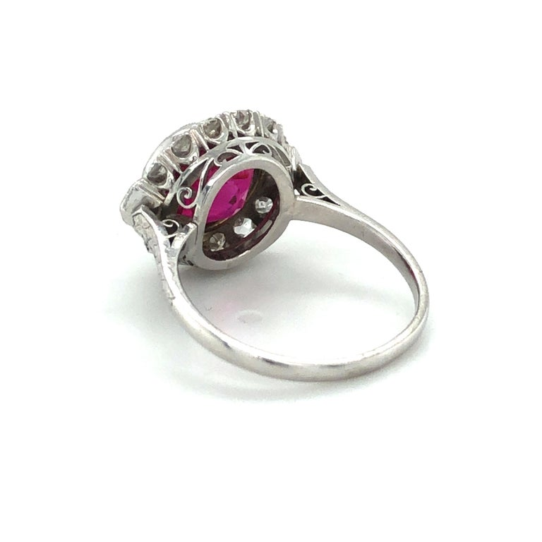 Fabulous Art Deco Ring with Burmese Ruby and Diamonds in Platinum 950 1