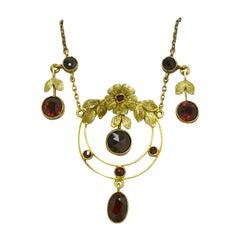Fabulous Art Nouveau Garnet Lavalier Drop Necklace Flowers Floral Leaves Gold