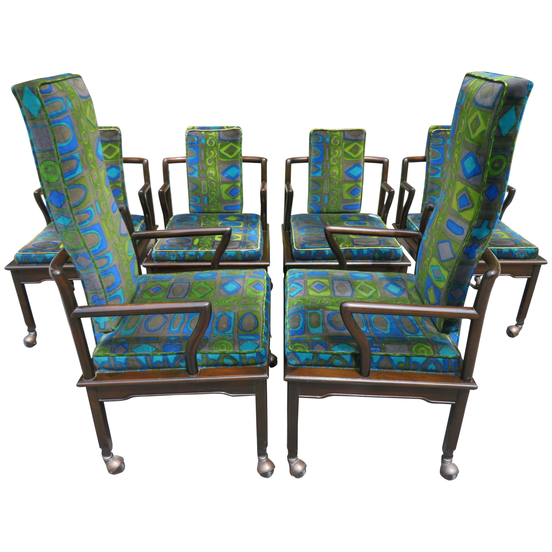 Fabulous Asian Modern Widdicomb Dining Chairs Jack Lenor Larsen Blue Velvet