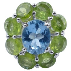 Fabulous Blue Topaz and Peridot Large Cocktail Ring Set in Sterling