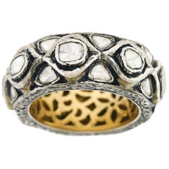 Fabulous Boho Diamond Set Silver and Gold Ring