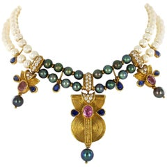 Fabulous Boucheron Cultured Pearl, Sapphire, and Diamond Necklace in Yellow Gold