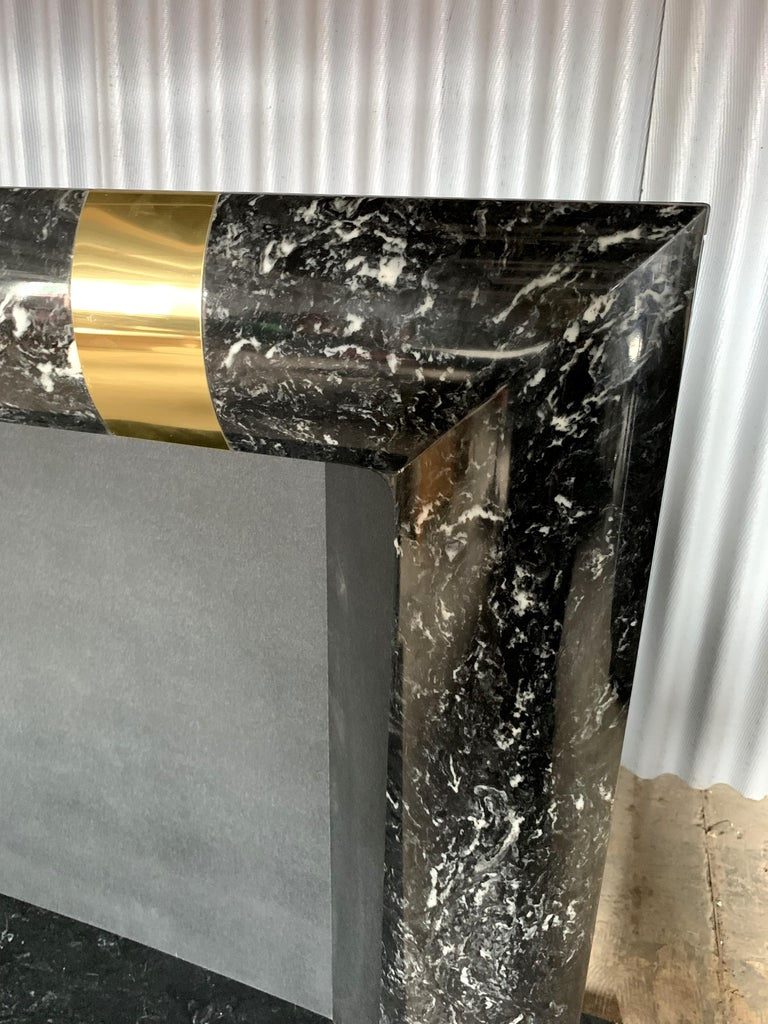 Fabulous Brass Marble and Composite Fireplace Surround For Sale 6