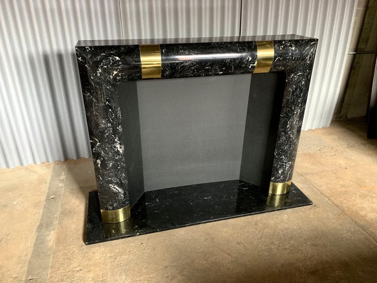 Hollywood Regency Fabulous Brass Marble and Composite Fireplace Surround For Sale