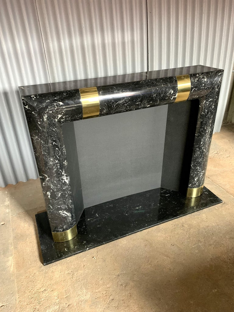 American Fabulous Brass Marble and Composite Fireplace Surround For Sale