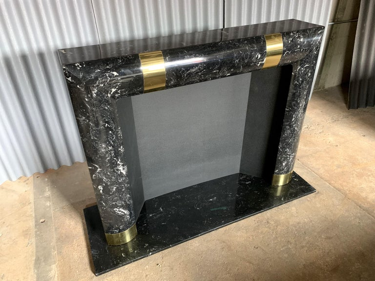 Fabulous Brass Marble and Composite Fireplace Surround In Good Condition For Sale In Southampton, NJ